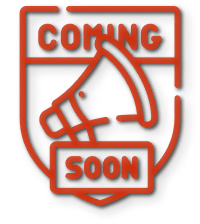 Red shaped badge with coming soon written on it.