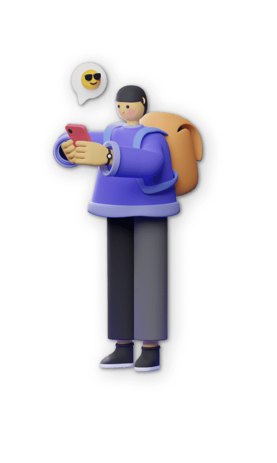 3D illustration of  a person checking his phone, with a little word cloud pointed at the phone showing a smiley face with sunglasses.