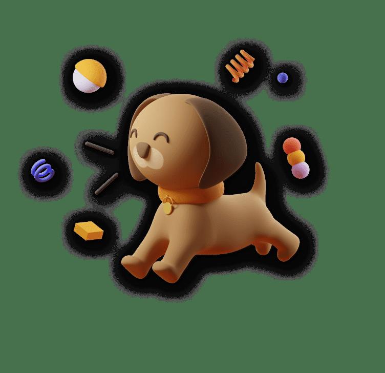 3D illustration of  acute dog barking and smiling.