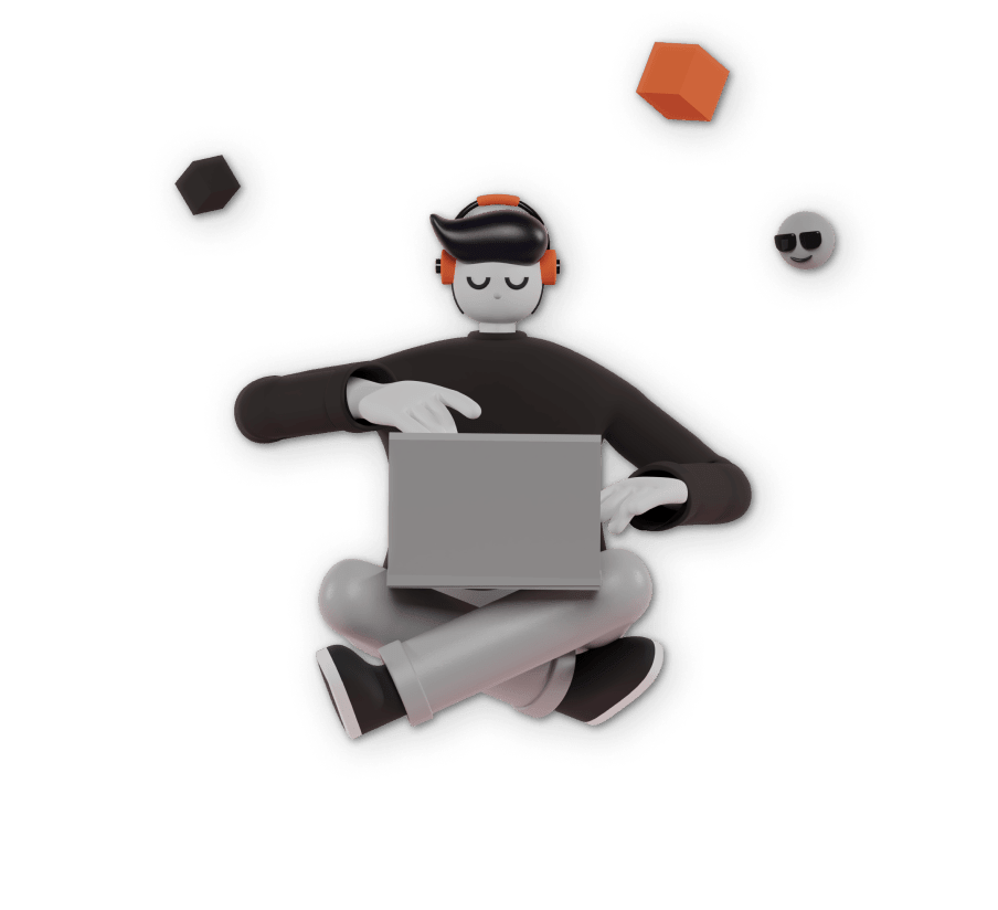 3D illustration of a person sitting with his laptop on his lap with headphones on his head.