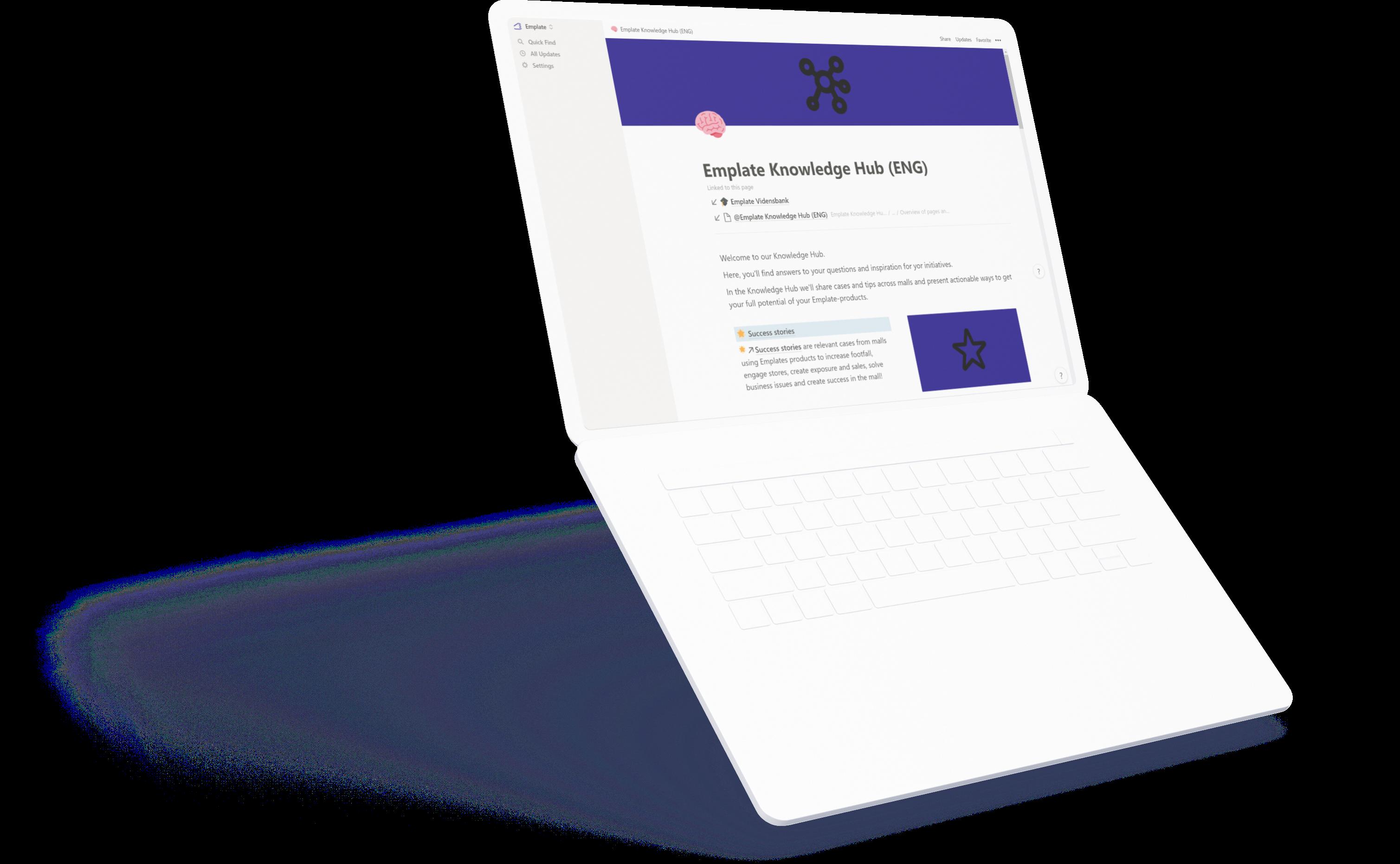 Emplate Knowledge Hub on laptop