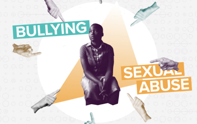 """Picture of a sad looking girl with hands circling and pointing at her with graphics saying """"sexual abuse"""" and """"bullying"""""""