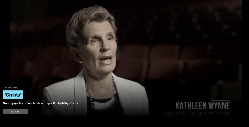 Screenshot from a video of Kathleen Wynne talking.