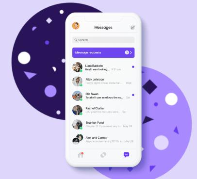 Screenshot of in app messaging.