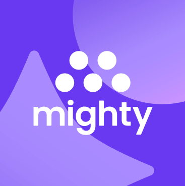 Mighty logo on top of a bright purple background.
