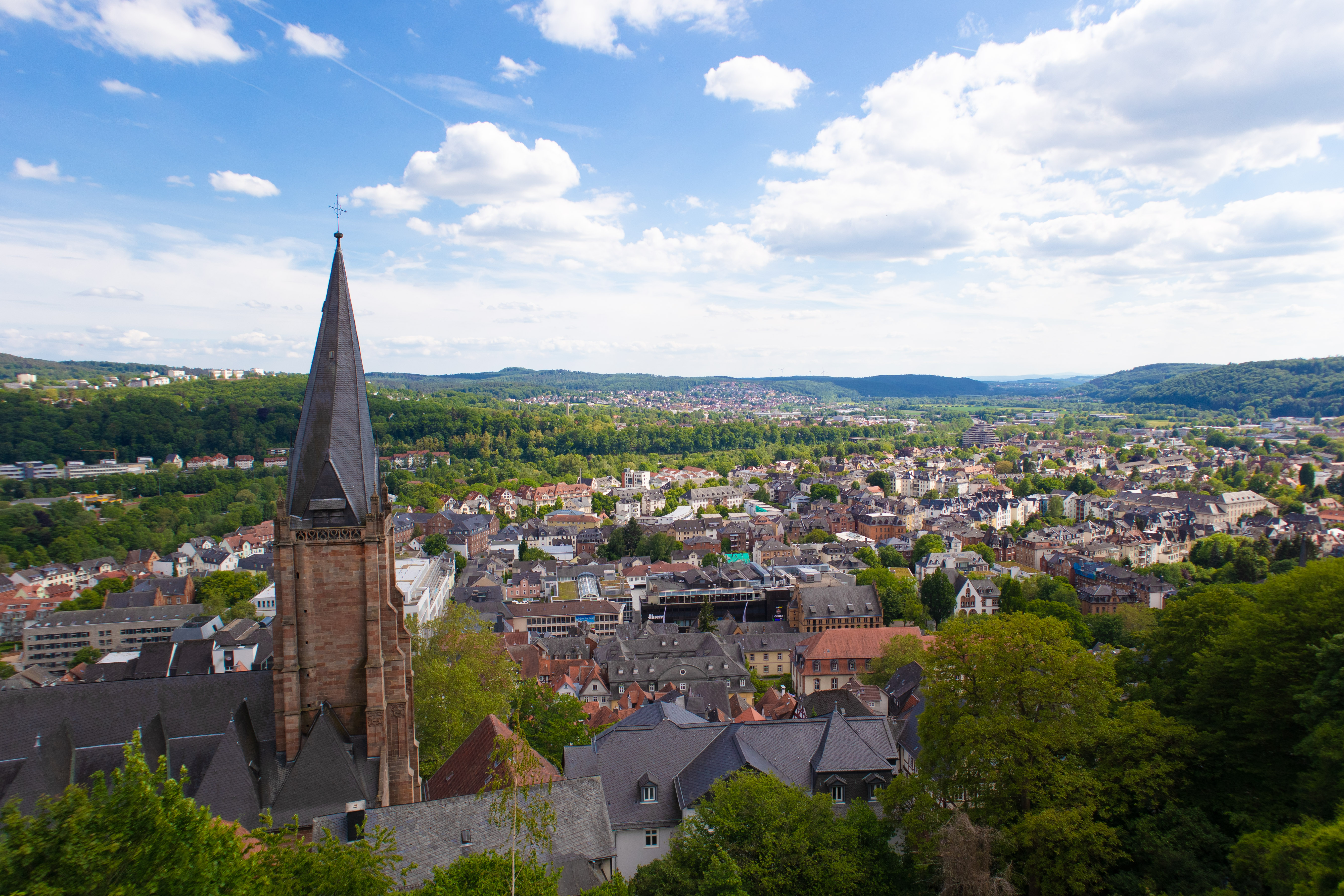 The view of a small german town from atop a hill