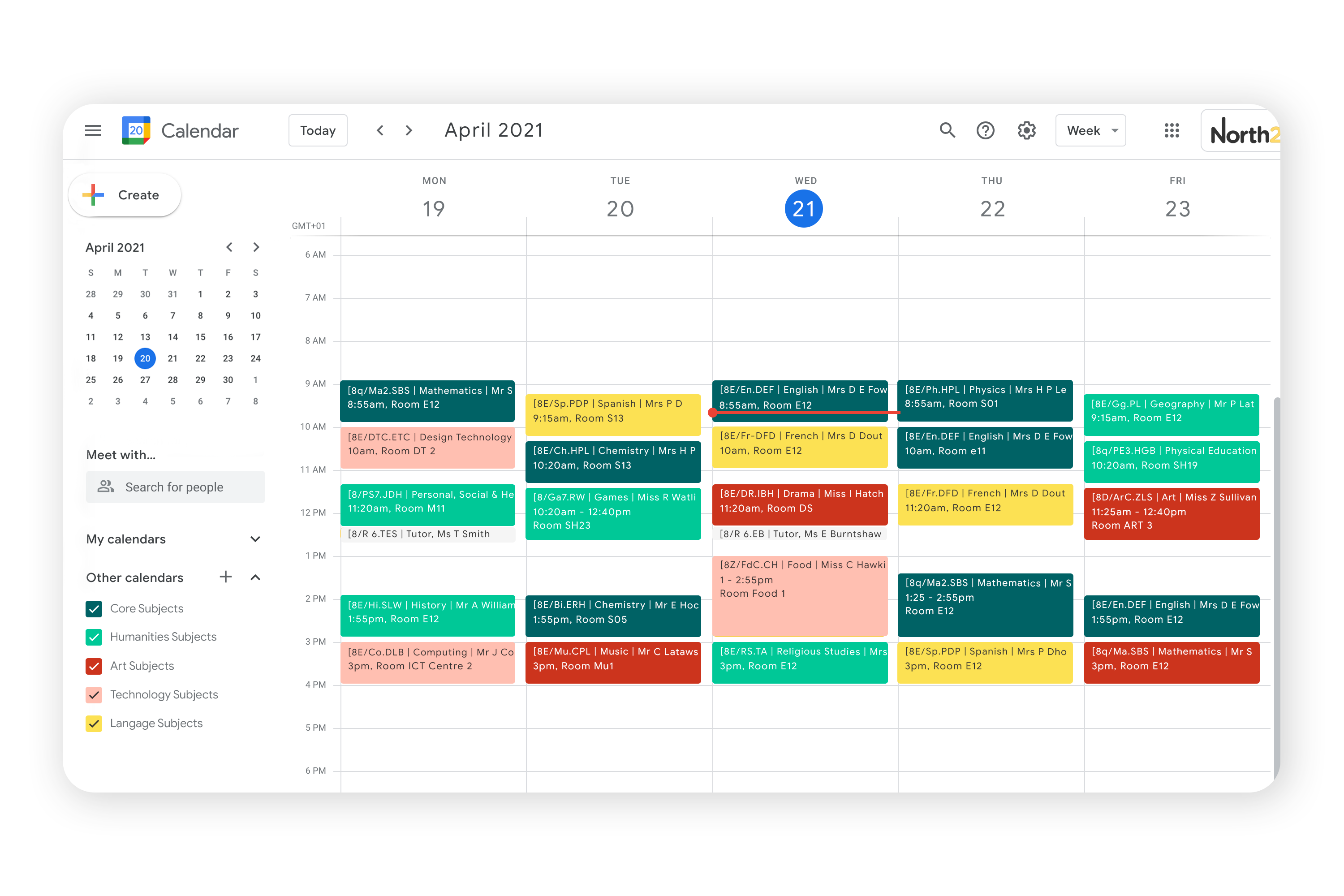 Example of Google Calendars through GSync