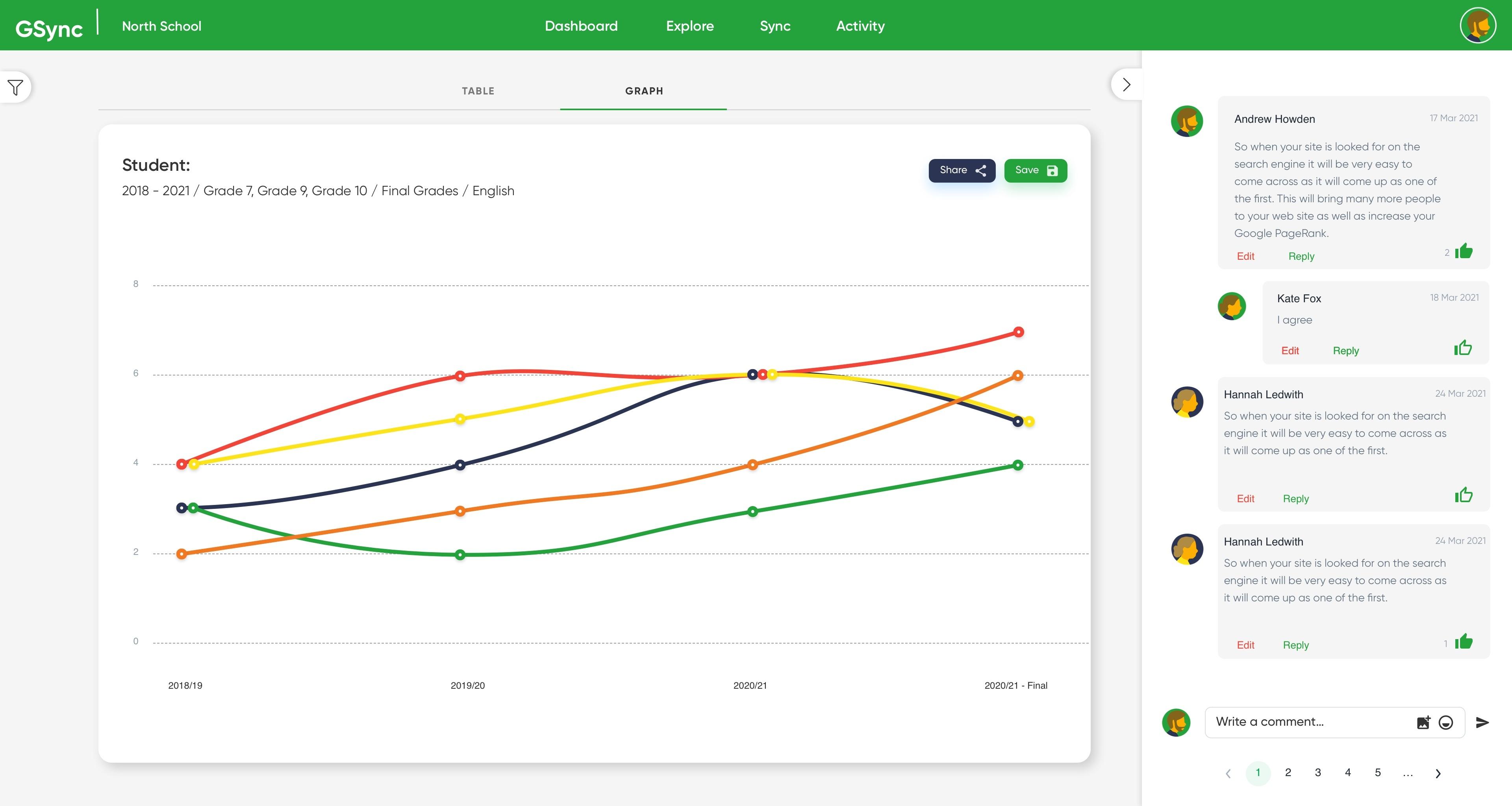 GSync Explorer Web App Comments View