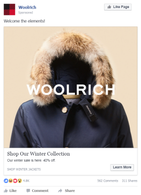 Weather triggered creative for Woolrich jacket