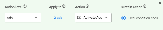 WeatherAds actions rules builder