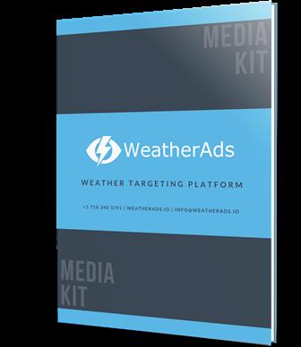 Hardcover copy of WeatherAds media kit brochure