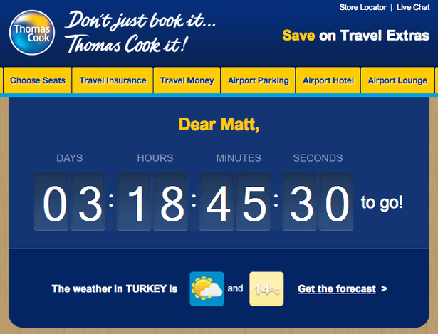 Thomas Cook weather triggered emails - travel