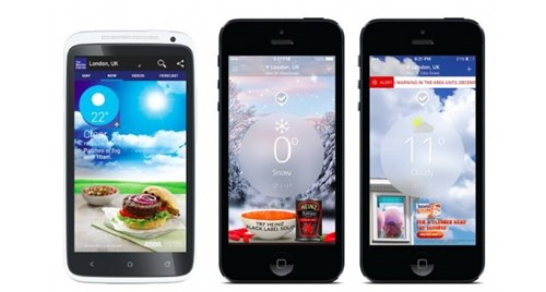 Selection of weather activated ads for food brands