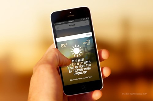 weather targeted mobile ad for iced tea