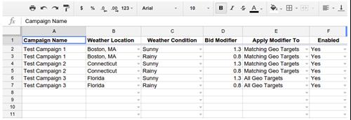 excel spreadhseet for weather based bidding