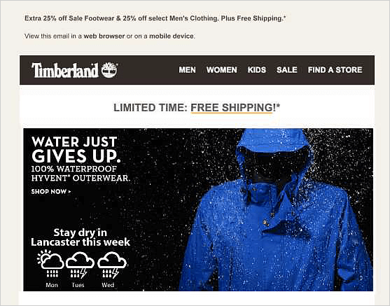 Timberland weather triggered emails promoting rainoats