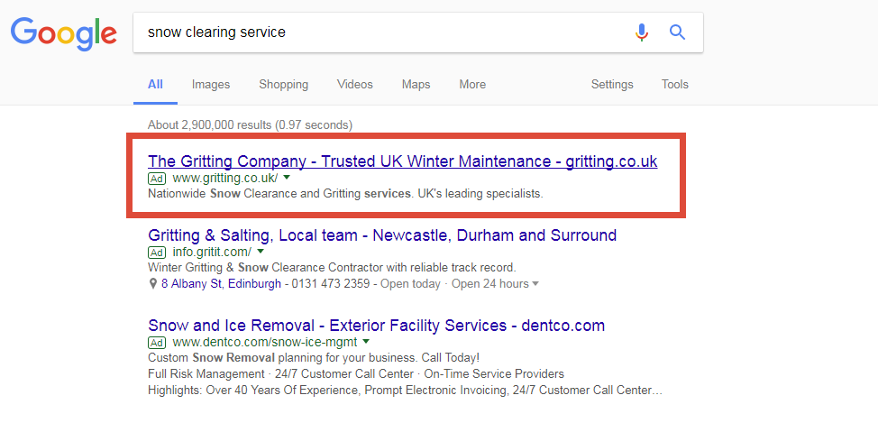 Weather triggered Google Search ads