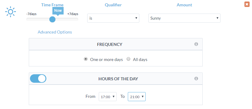 WeatherAds legacy dashboard screenshot - triggers