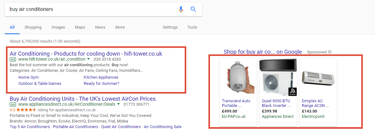 Google search results for air conditioners