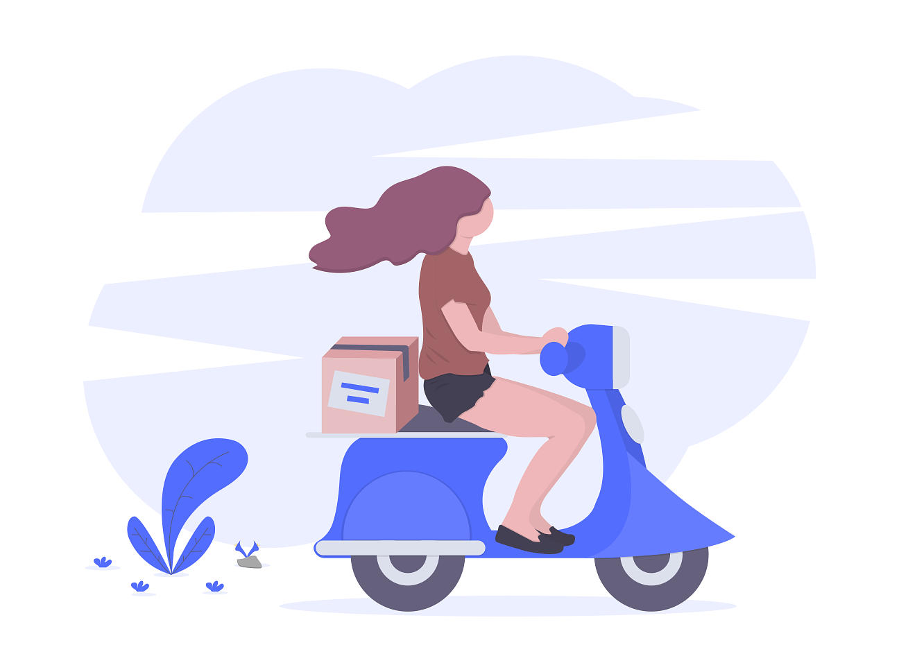 Food delivery driver on scooter