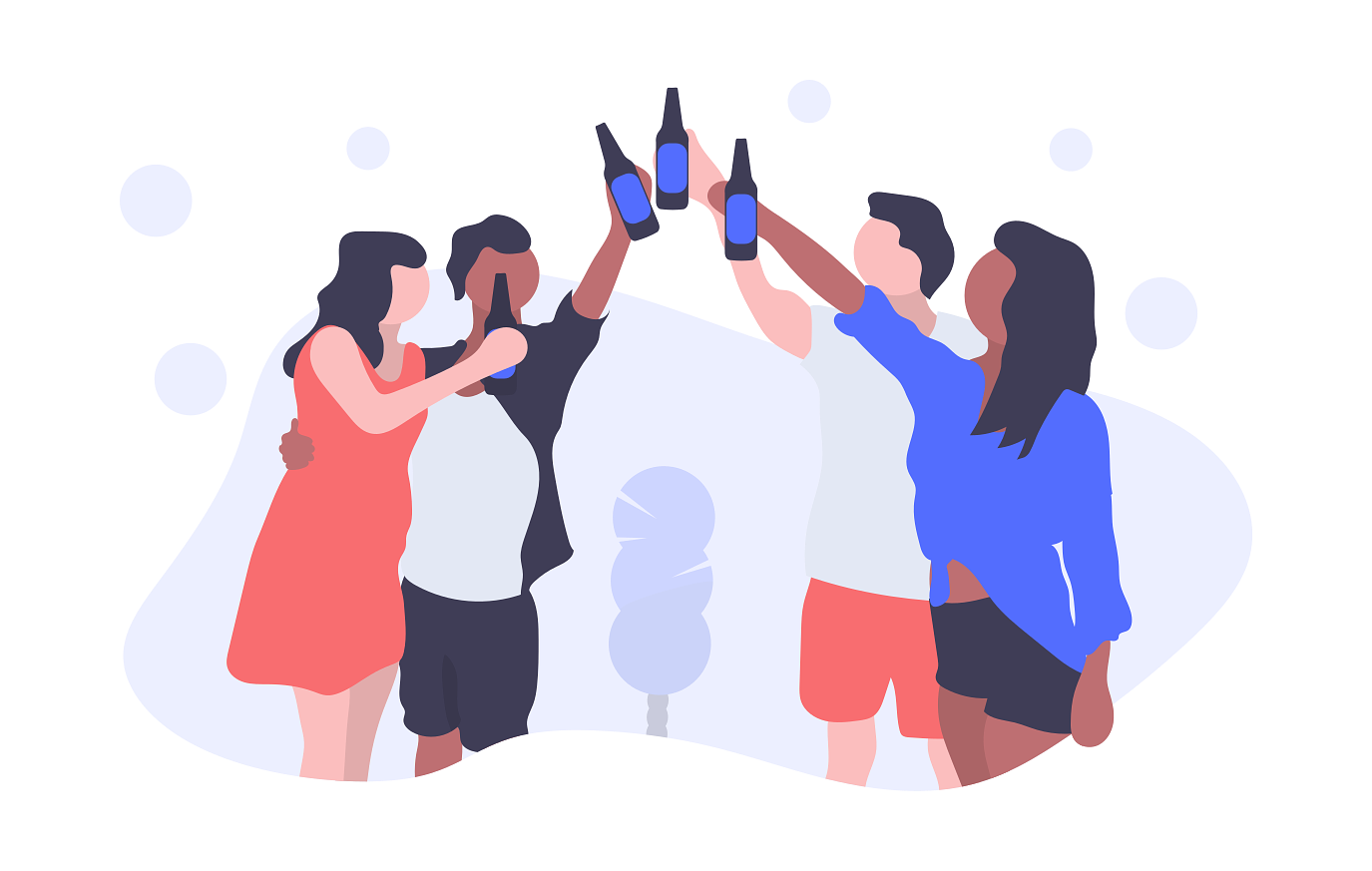 Friends celebrating with drinks