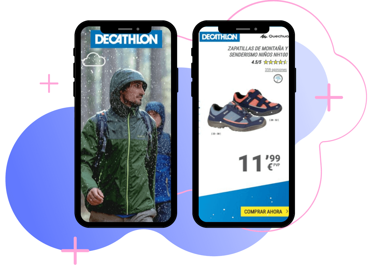 Decathlon weather activated ads for jackets and hiking boots