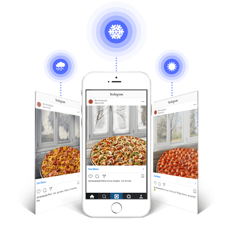 Donatos dynamic weather activated creative on Instagram