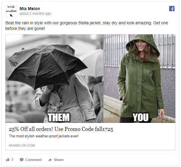 Weather adaptive ads on Facebook for rain coats