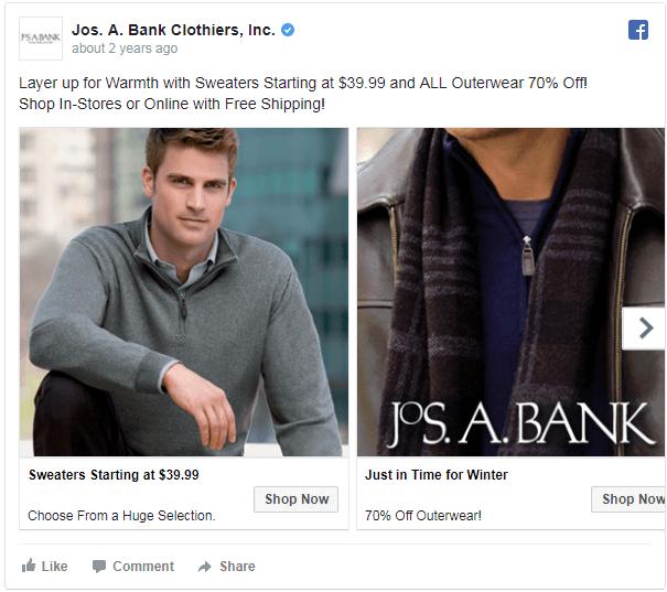 Apparel brand weather triggered ads on Facebook
