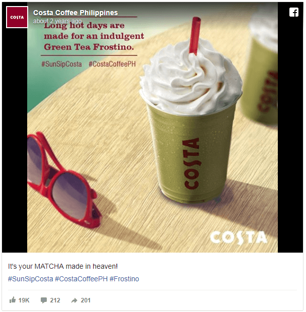 Costa Coffee QSR weather targeted creative Facebook