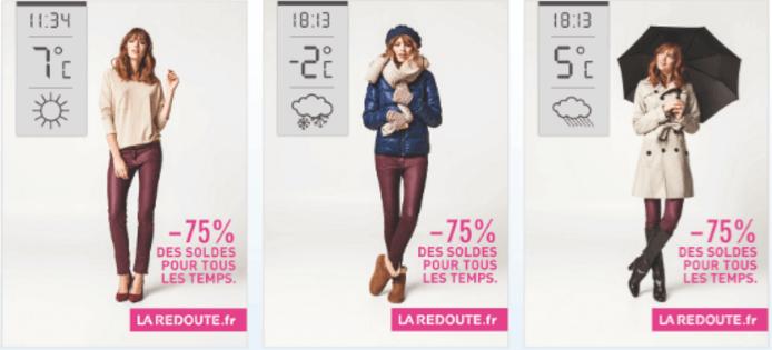 La Redoute weather triggered billboard ads - Retail