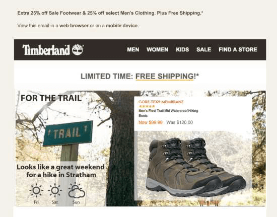 Timberland weather triggered emails promoting hiking boots