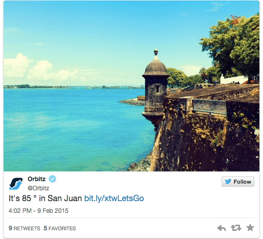 Weather targeted ads on Twitter for travel co Orbitz
