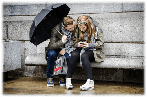 People with mobile phones in rain