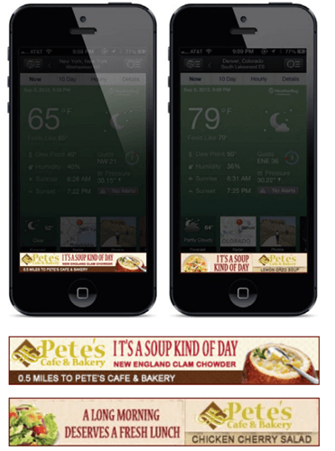 Restaurant chain weather targeted mobile ads