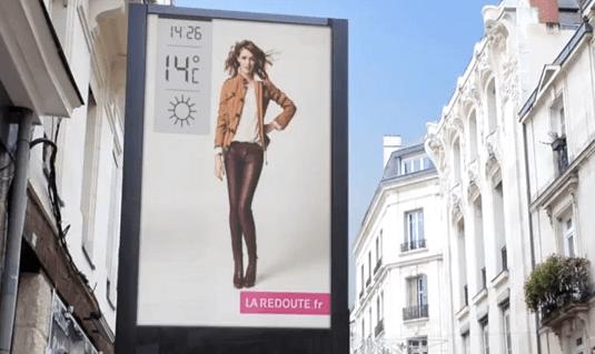La Redoute Weather triggered dynamic DOOH ads billboard in Paris