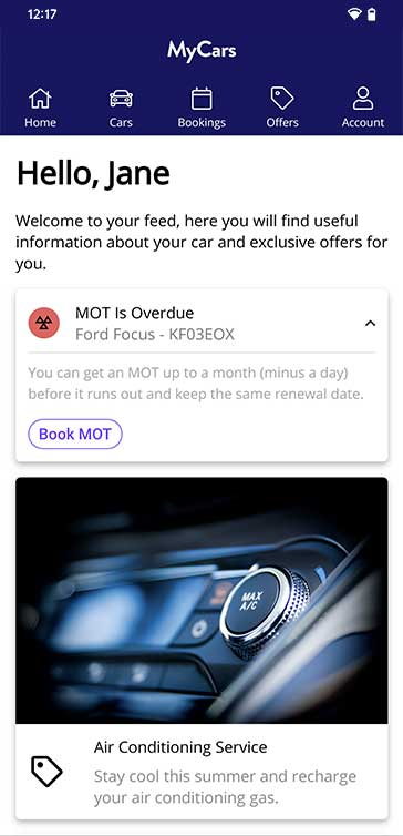 MyCars mobile preview