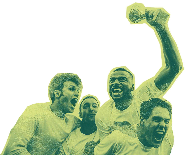 Men celebrating after win