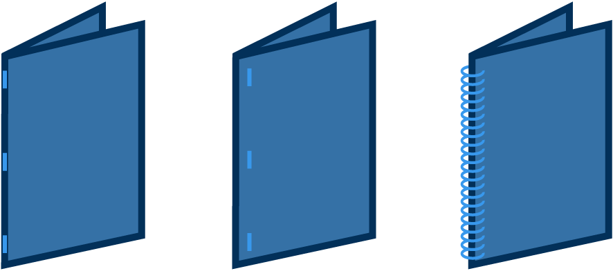 Binding options include saddle stitch, side stitch, and coil bound