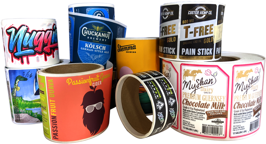 A variety of product labels from different industries