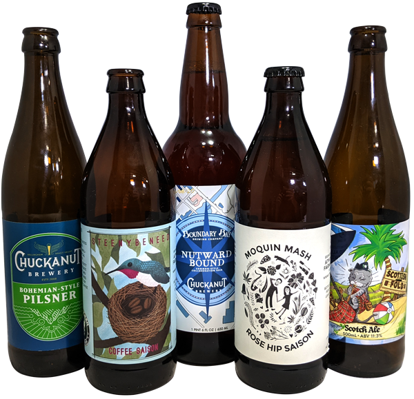 A selection of Bellingham brewery beer bottle labels printed by AMS