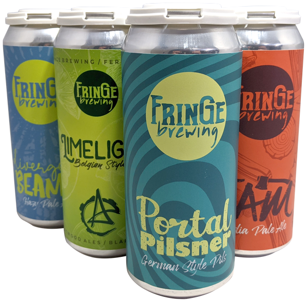 A selection of Ferndale, WA Fringe Brewing beer can labels printed by AMS