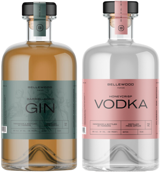 Vodka and Gin liquor labels printed by AMS for Lynden, WA distillery, Bellewood Farms.