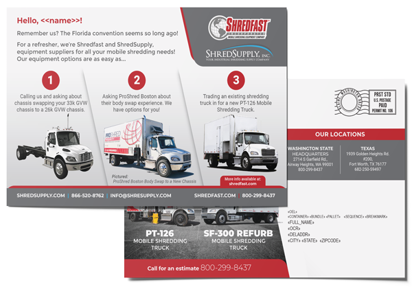 Postcards that were designed, printed, and mailed by AMS for Shredfast Inc., a company from Airway Heights, WA