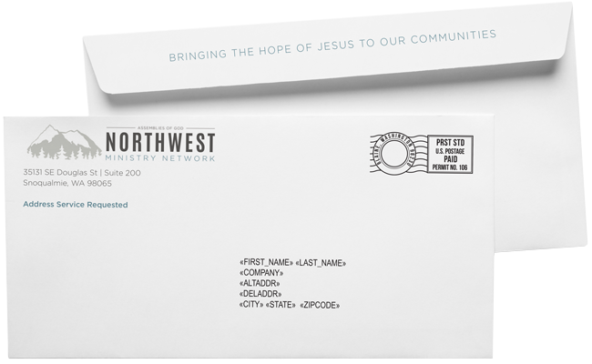 #10 envelope with print on the flap printed and mailed for NW Ministry Network out of Snoqualmie, WA