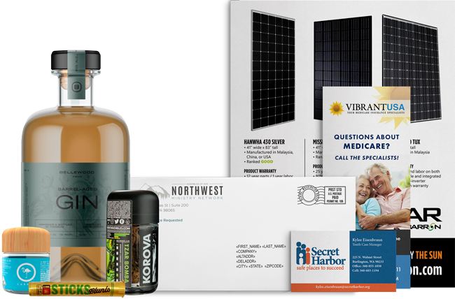 A showcase of label packaging, direct mail pieces, and printed material by AMS