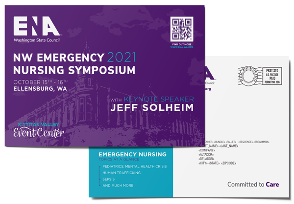 Postcards that were designed, printed, and mailed by AMS for the Emergency Nurses Association