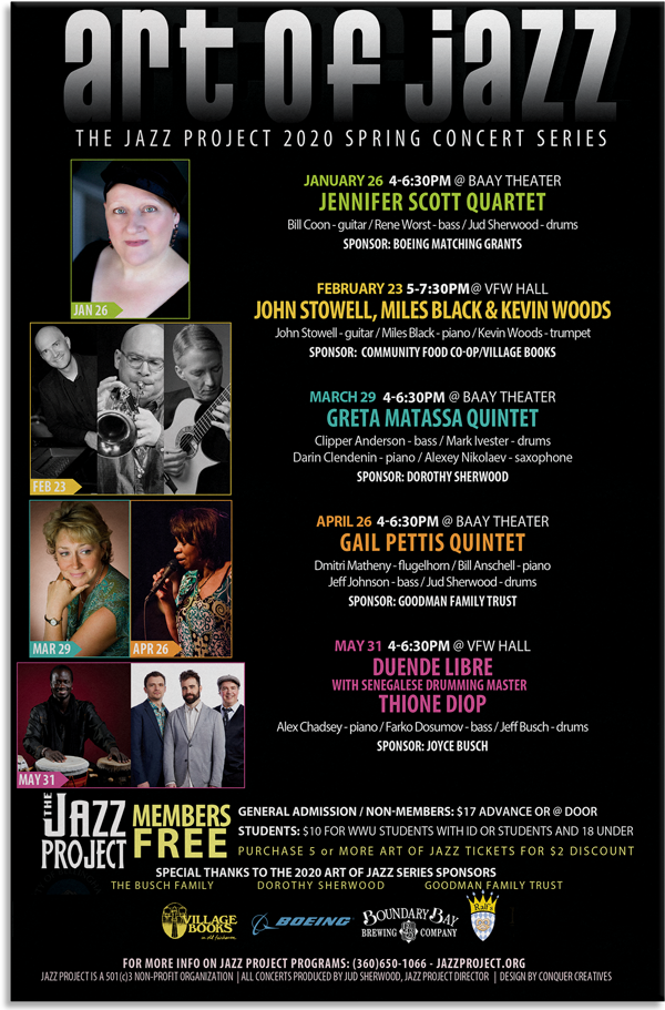 An example of a 12x18 poster printed for the Jazz Project out of Bellingham, WA