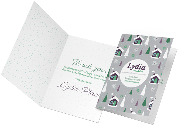 An example of greeting cards printed for non-profit Lydia Place out of Bellingham, WA