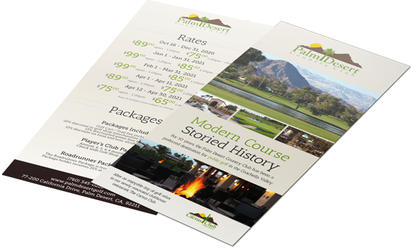 Rack Cards printed for Palm Dessert Country Club out of Palm Dessert, CA